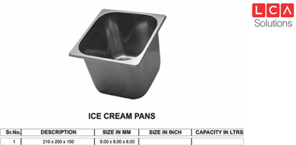 Picture of GN ICE CREAM PAN 8X8 150 MM
