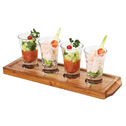 Picture of WOOD SHOT GLASS TRAY (4P)