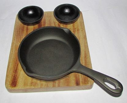 Picture of DESTELLER CAST WOOD BASE ROUND PAN DIP BOWLS