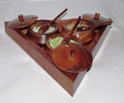 Picture of WOOD PICKLE POT SET 3PC TRIANGLE