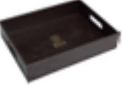 """Picture of HK LEATHER TRAY W/HANDLE 17X12"""""""